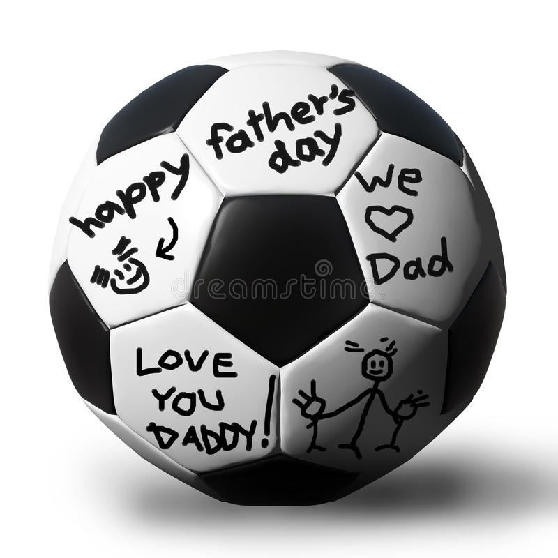 Download Handwriting On A Soccerball For Your Father Stock Illustration - Image: 25601925