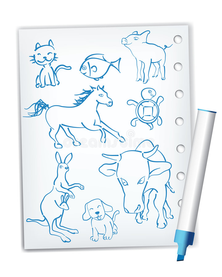 Download Handwriting Style Animal Drawings Royalty Free Stock Photo - Image: 8462455