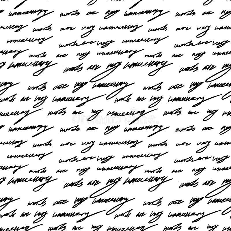 Handwriting tła grunge listów bezszwowi deseniowi słowa royalty ilustracja