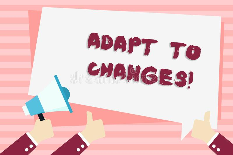 Handwriting tekst Adaptuje zmiany Pojęcie znaczy Nowatorską zmiany adaptację z technologicznym ewolucji ręki mieniem royalty ilustracja