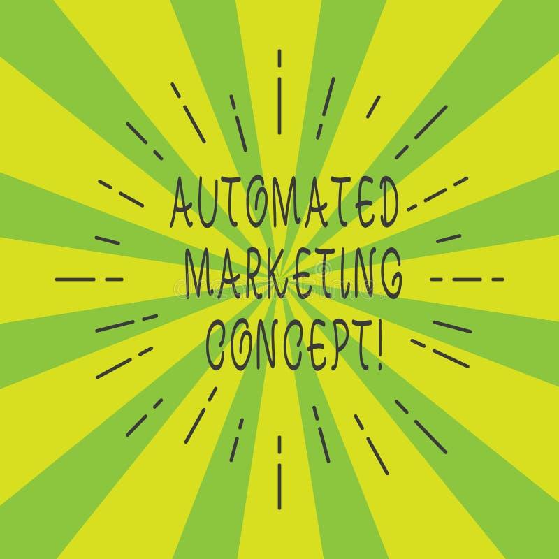 Handwriting tekst Automatyzujący Marketingowy pojęcie Pojęcia znaczenie automatyzuje powtórkowych zadania tak jak email linii Cie zdjęcie stock