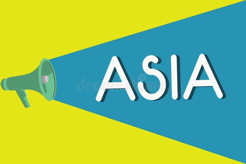 Handwriting tekst Azja Pojęcie znaczy kontynent Wschodniego i północną półkulę Wielkiego i ludnego ilustracji