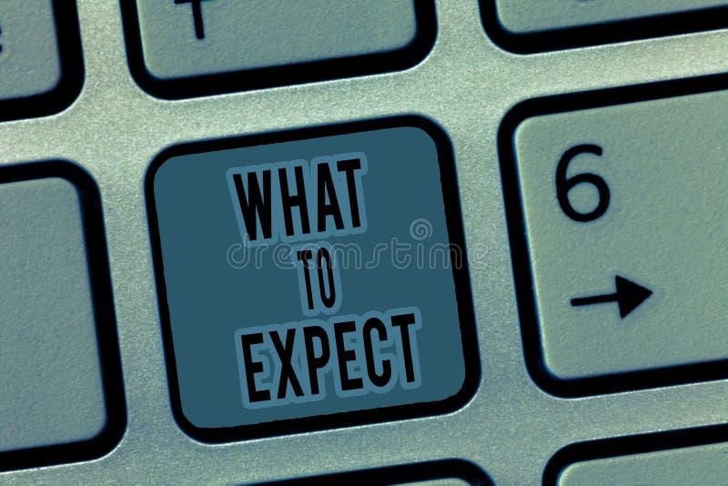 Handwriting tekst Co Oczekiwać Pojęcia znaczenia zamieszanie o wiarze co zdarza się w przyszłości obraz stock