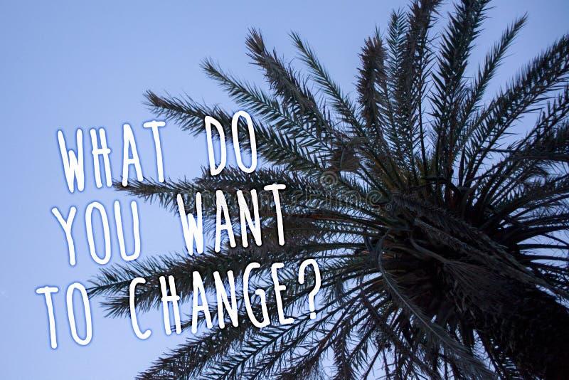 Handwriting tekst Co Wy Chcą Zmieniać pytanie Pojęcia znaczenia strategii Planistycznej decyzi drzewka palmowego Obiektywny Wysok zdjęcie royalty free