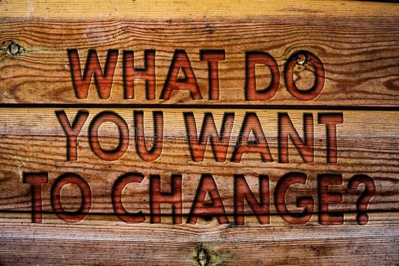 Handwriting tekst Co Wy Chcą Zmieniać pytanie Pojęcia znaczenia strategii Planistycznej decyzi tła Obiektywny Drewniany vinta fotografia royalty free