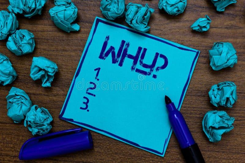 Handwriting tekst Dlaczego pytanie Pojęcia znaczenie Pyta dla odmianowych odpowiedzi coś przesłuchuje dowiaduje się Cyan papierow obrazy royalty free