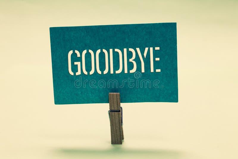 Handwriting tekst Do widzenia Pojęcia znaczenia powitanie dla opuszczać pożegnanie Widzii ciebie wkrótce Separacyjni salutu Cloth zdjęcia royalty free