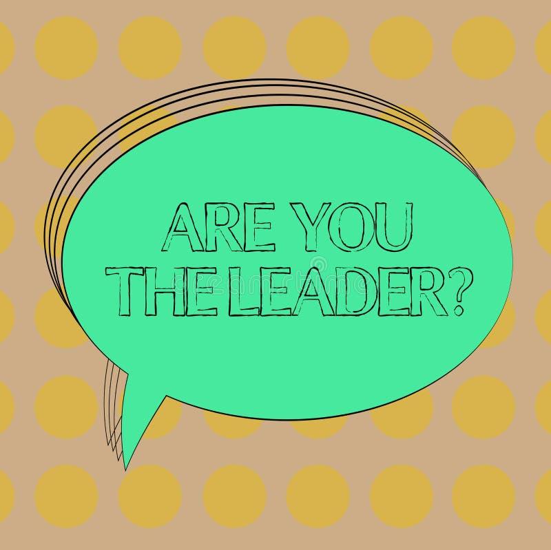 Handwriting tekst Jest Tobą Leaderquestion Pojęcia znaczenia przywódctwo demonstruje brać opiekę firmy pustego miejsca owal ilustracji