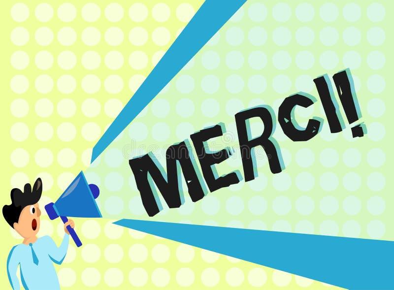 Handwriting tekst Merci Pojęcia znaczenie definiujący jak dziękuje ty w Francuskim języku Jest wdzięczny someone ilustracji