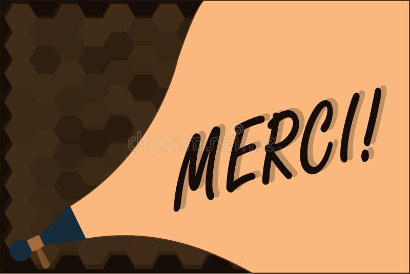 Handwriting tekst Merci Pojęcia znaczenie definiujący jak dziękuje ty w Francuskim języku Jest wdzięczny someone royalty ilustracja