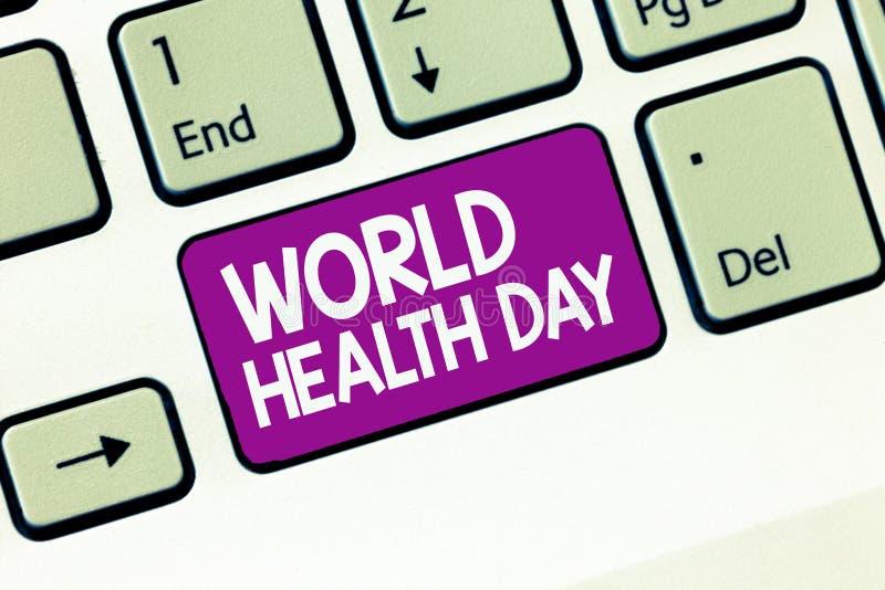 Handwriting tekst pisze Światowych zdrowie dniu Pojęcie znaczy Globalnego zdrowie świadomości dzień świętował każdego roku fotografia royalty free