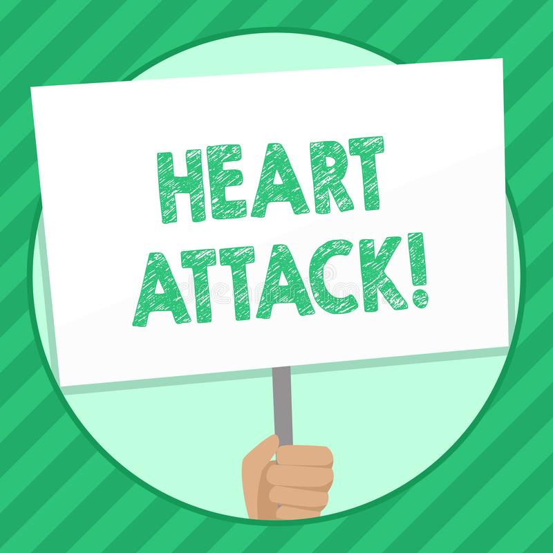 Handwriting tekst pisze atak serca Pojęcie znaczy nagłego występowanie wieńcowy zakrzepica wynikający w śmiertelnej ręce royalty ilustracja