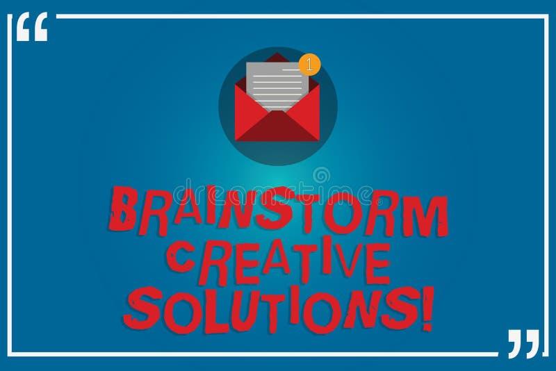 Handwriting tekst pisze Brainstorm Kreatywnie rozwiązaniach Pojęcie znaczy intensywną i freewheeling grupową dyskusję Otwartą ilustracja wektor