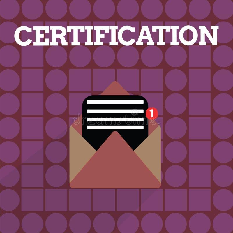 Handwriting tekst pisze certyfikacie Pojęcia znaczenie Providing someone poświadcza status z urzędowym dokumentem royalty ilustracja