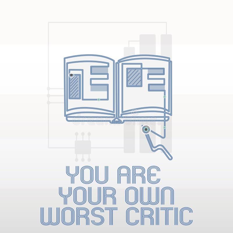 Handwriting tekst pisze Ciebie Jest Twój Swój Złym krytykiem Pojęcie znaczy zbyt mocno na jaźni Pozytywna informacje zwrotne Nie ilustracja wektor