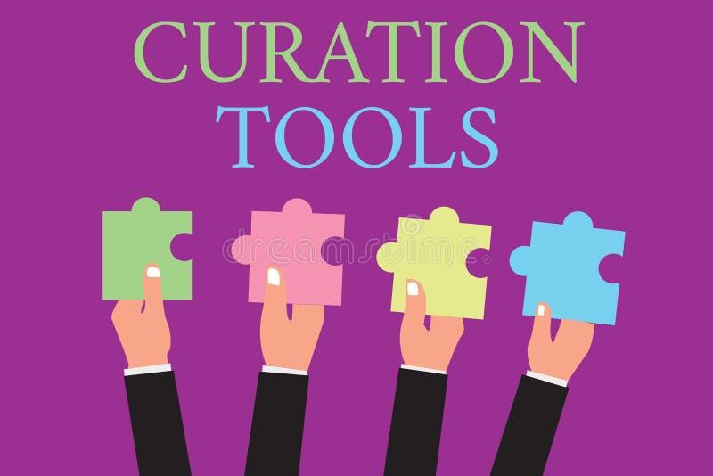 Handwriting tekst pisze Curation narzędziach Pojęcia znaczenia oprogramowanie używać w zgromadzenie informaci istotnej temat royalty ilustracja