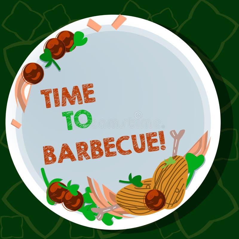 Handwriting tekst pisze czasie grill Pojęcie znaczy Relaksującą kulinarną mięsną kurczak wieprzowinę na grilla lata aktywności royalty ilustracja
