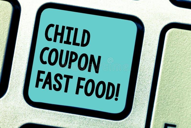 Handwriting tekst pisze dziecko talonu fascie food Pojęcia znaczenia bileta rabata oszczędzań dżonki posiłki dla dzieciaków Klawi obraz royalty free