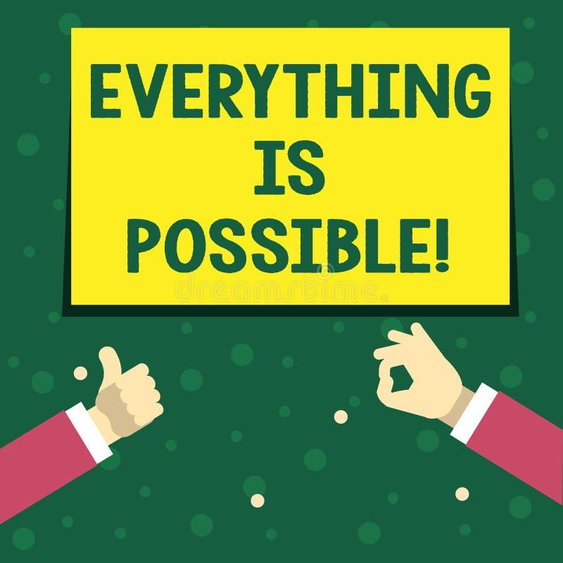 Handwriting tekst pisze Everything Jest Ewentualny Pojęcie znaczy Wszystko ty myśleć lub sen może zostać prawdziwy Optymistycznie ilustracja wektor
