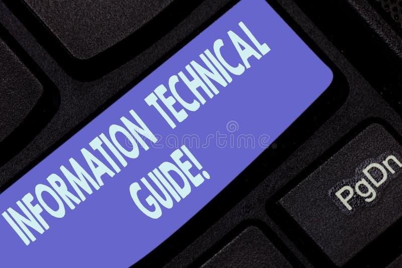 Handwriting tekst pisze Ewidencyjnego Technicznego przewdonika Pojęcia znaczenia dokument zawiera instrukcje operacja zdjęcie stock