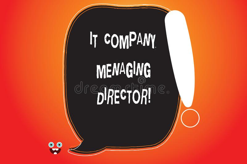 Handwriting tekst pisze firma informatyczna dyrektora Pojęcia znaczenia technologie informacyjne Fachowego szefa koloru Pusta mow ilustracja wektor