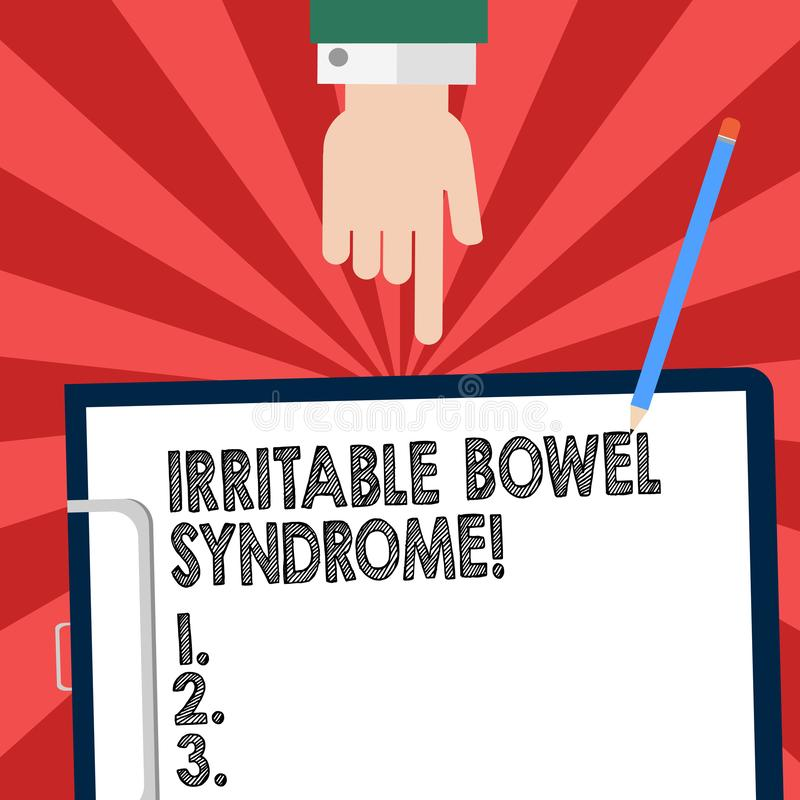 Handwriting tekst pisze Gniewliwej kiszki syndromu Pojęcia znaczenia nieład wymaga brzuszną bólu i biegunki Hu analizy rękę royalty ilustracja