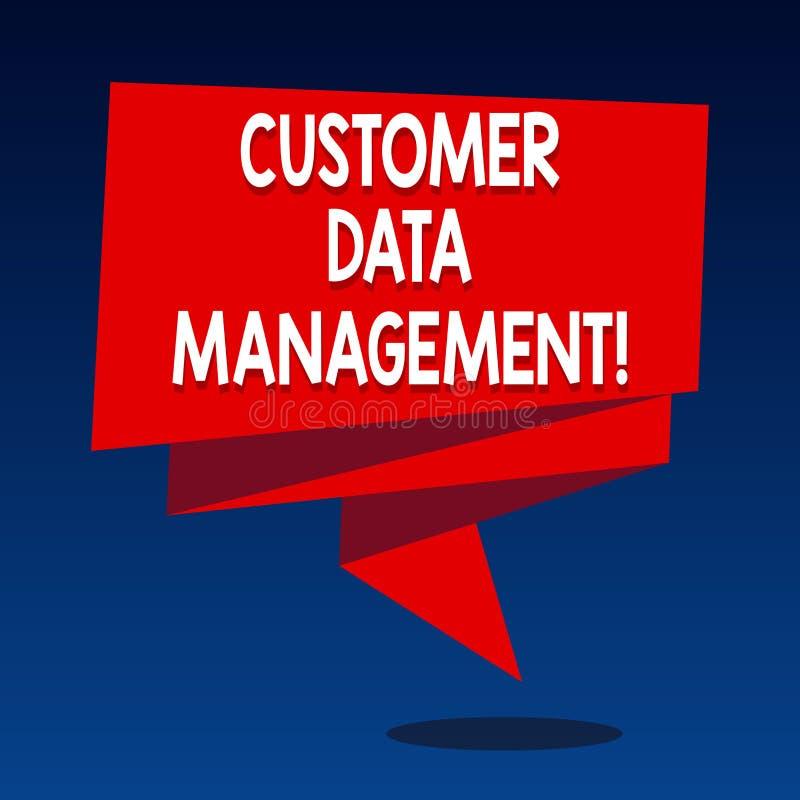 Handwriting tekst pisze klienta zarządzaniu danymi Pojęcia znaczenia utrzymania analysisage i śladu klientów informacja ilustracja wektor