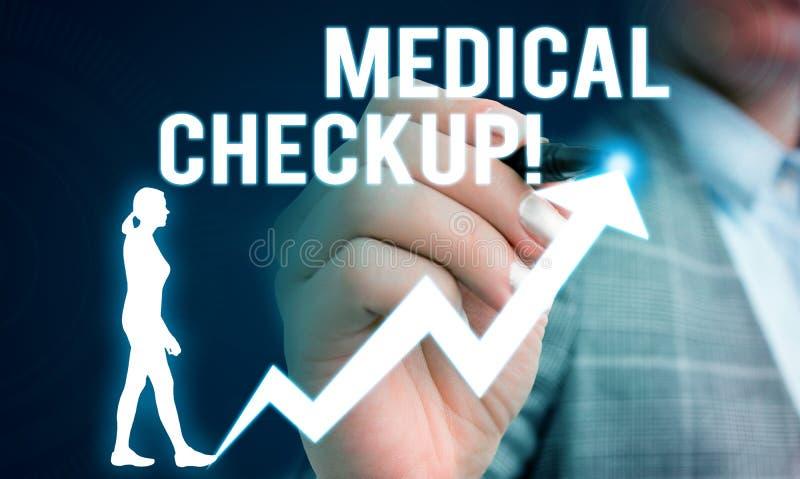 Handwriting tekst pisze Medycznym Checkup Pojęcie znaczy gruntownego fizycznego egzamin zawiera rozmaitość testy Żeńscy fotografia stock