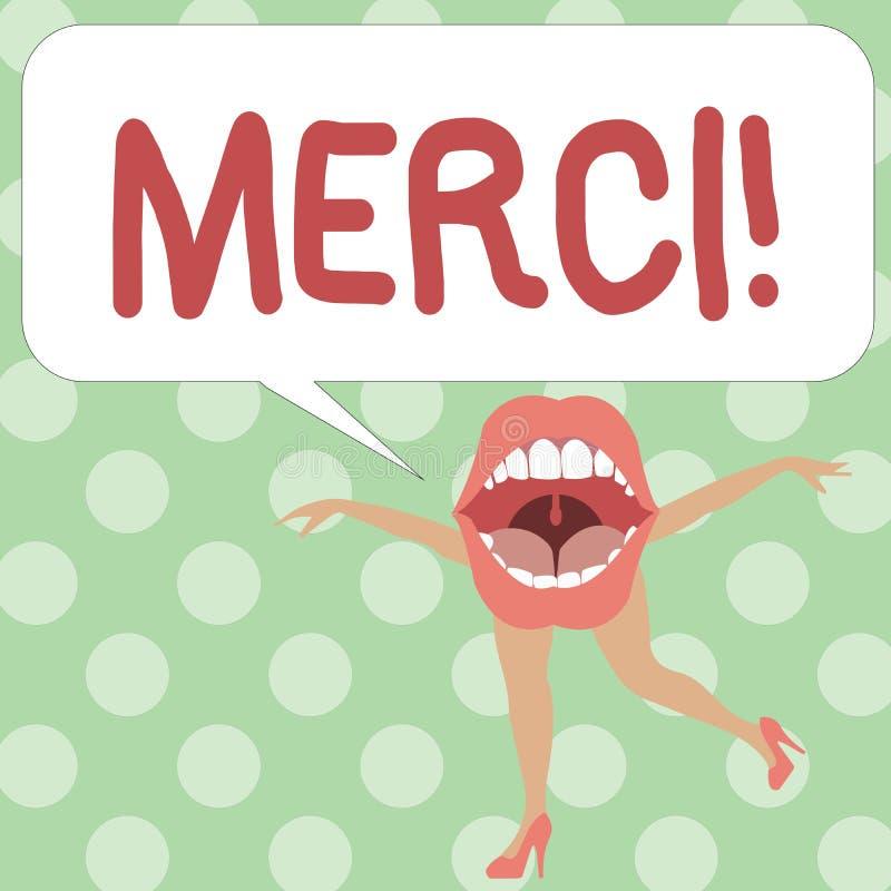 Handwriting tekst pisze Merci Pojęcia znaczenie definiujący jak dziękuje ty w Francuskim języku Jest wdzięczny someone ilustracja wektor