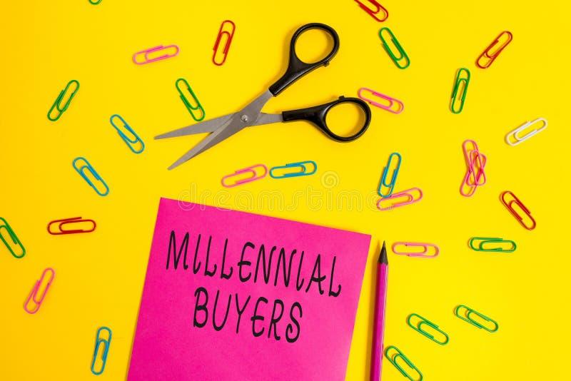 Handwriting tekst pisze Millennial nabywcy Poj?cia znaczenia typ konsumenci kt?re s? zainteresowani w wykazywa? tendencj? produkt zdjęcia royalty free