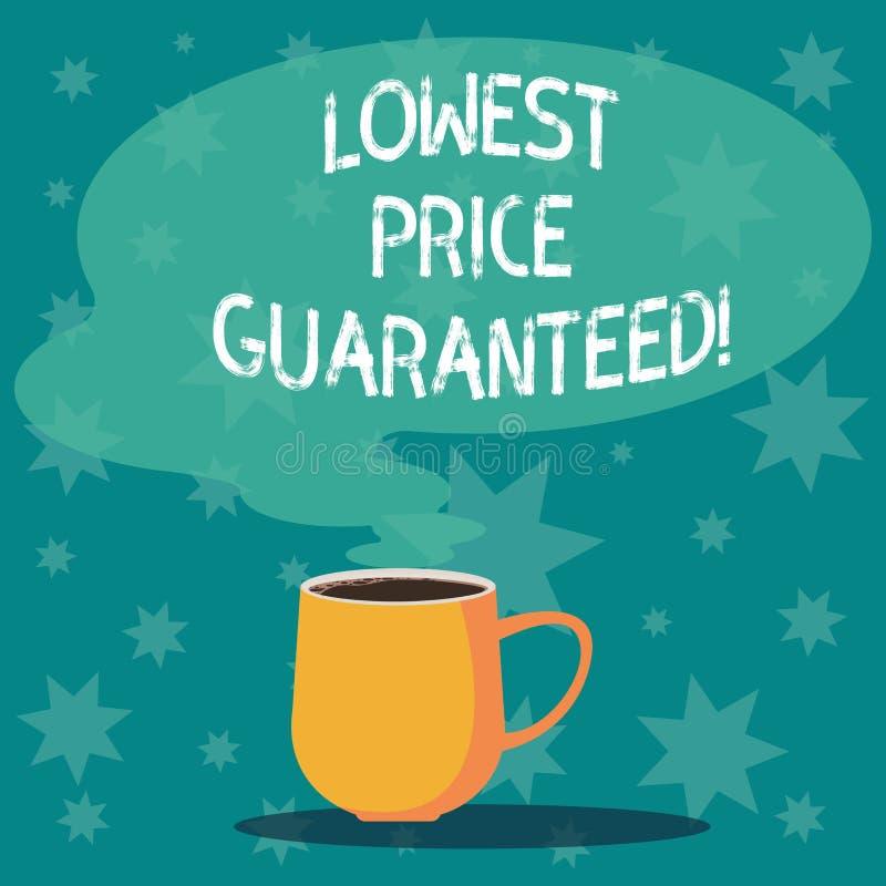 Handwriting tekst pisze Niskiej cenie Gwarantującej Pojęcia znaczenia ceny ładunki są niscy wśród konkurenta kubka ilustracji