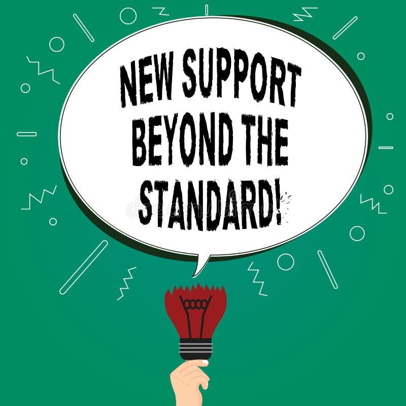 Handwriting tekst pisze Nowym poparciu Poza standard Pojęcie znaczy Znakomitej pomocy pożytecznie usługowego Pustego owal ilustracja wektor