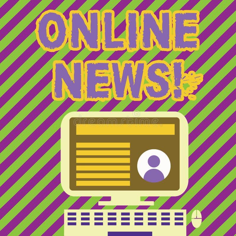 Handwriting tekst pisze Online wiadomości Pojęcie znaczy niedawno otrzymywająca lub warty uwagi informacja o wydarzenie stronie i royalty ilustracja
