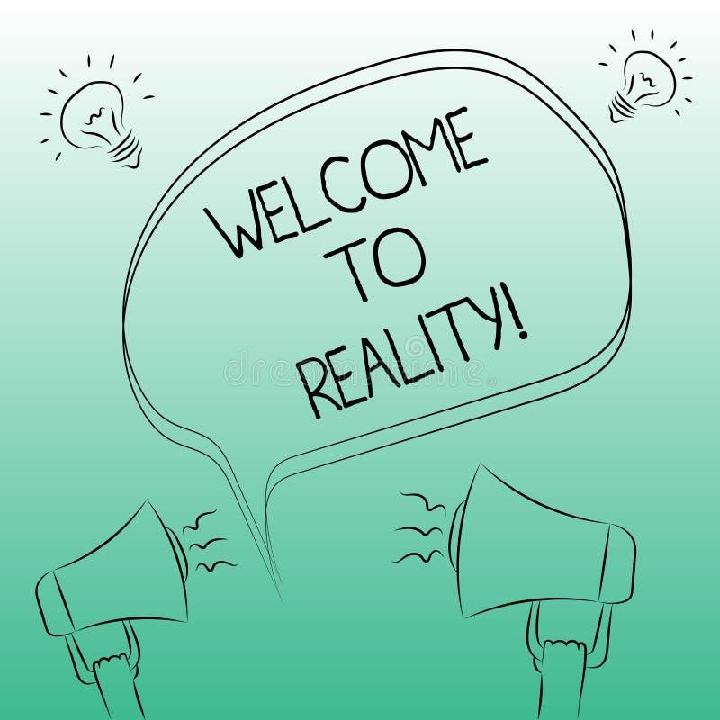 Handwriting tekst pisze powitaniu rzeczywistość Pojęcia znaczenia stanu rzeczy właściwie istnieją jak przeciwstawiający idealisty ilustracja wektor