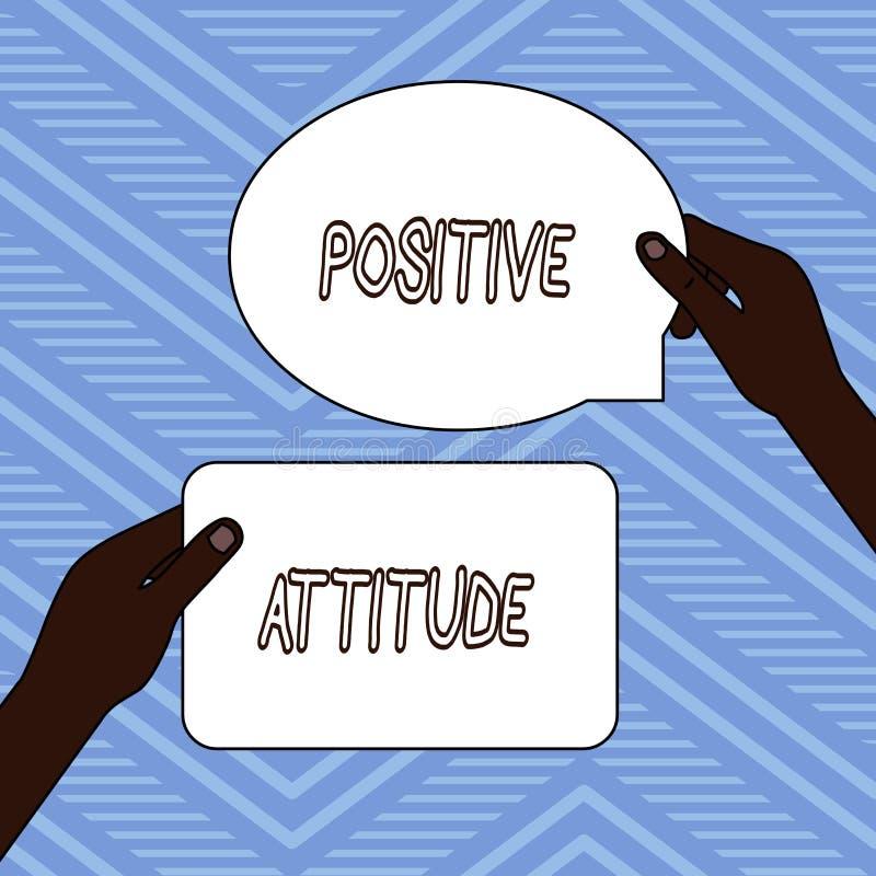 Handwriting tekst pisze Pozytywnej postawie Pojęcia znaczenie Jest optymistycznie w życiu Szuka dobrego rzeczy Dwa puste miejsce ilustracja wektor