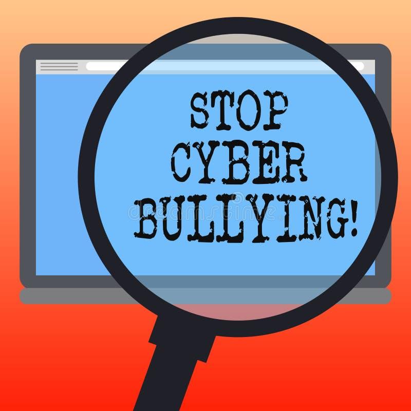 Handwriting tekst pisze przerwy Cyber Znęcać się Pojęcia znaczenie zapobiega używa komunikacja elektroniczna łobuz royalty ilustracja