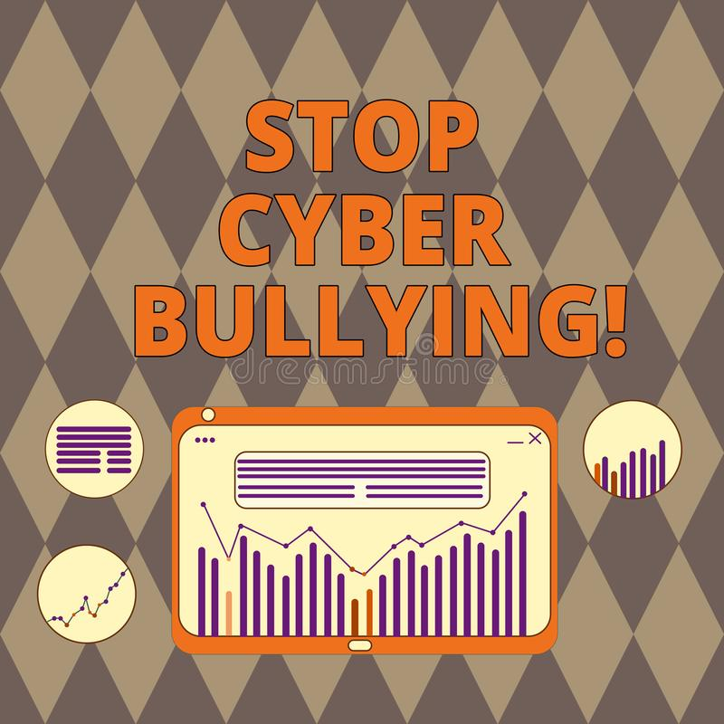 Handwriting tekst pisze przerwy Cyber Znęcać się Pojęcia znaczenie zapobiega używa komunikacja elektroniczna łobuz ilustracja wektor