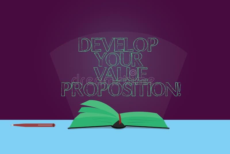 Handwriting tekst Rozwija Twój wartości propozycję E royalty ilustracja