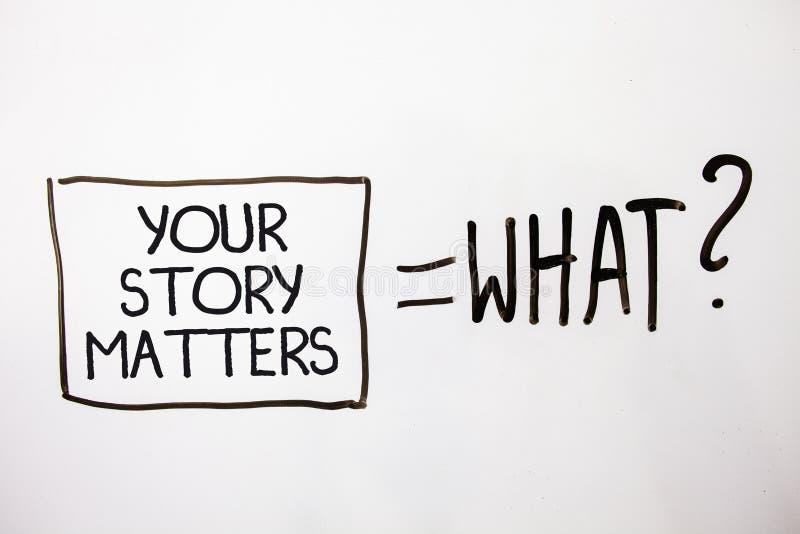 Handwriting tekst Twój opowieści sprawy Pojęcia znaczenia część twój doświadczenie dzienniczka Ekspresowi uczucia w pisać Białych fotografia stock