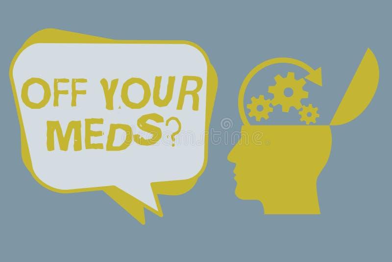 Handwriting tekst Z Twój Meds pytania Pojęcia znaczenie Zatrzymuje użycie przepisuje lekarstwa royalty ilustracja