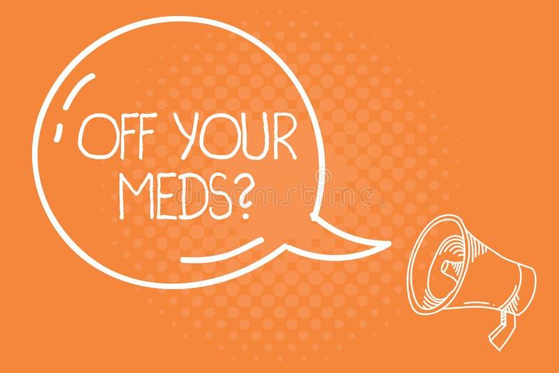 Handwriting tekst Z Twój Meds pytania Pojęcia znaczenie Zatrzymuje użycie przepisuje lekarstwa ilustracji