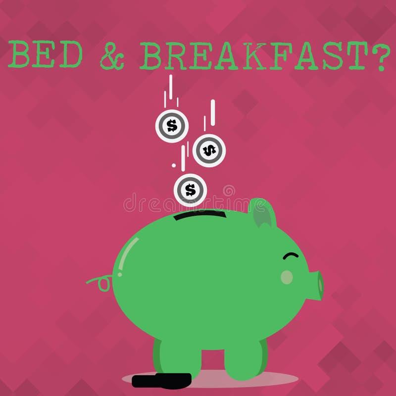 Handwriting teksta łóżko śniadaniowy pytanie - i - Pojęcia znaczenie opisuje równy catering zawierać hotel cen koloru prosiątko royalty ilustracja