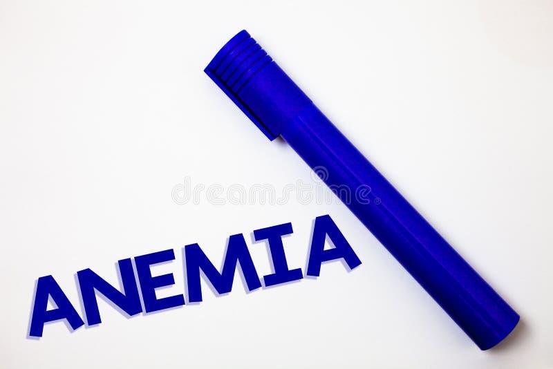 Handwriting teksta anemia Pojęcia znaczenia bezkrwawości choroby Krwionośnej straty Surowej choroby Żelaznego niedostatku pomysłó zdjęcie royalty free