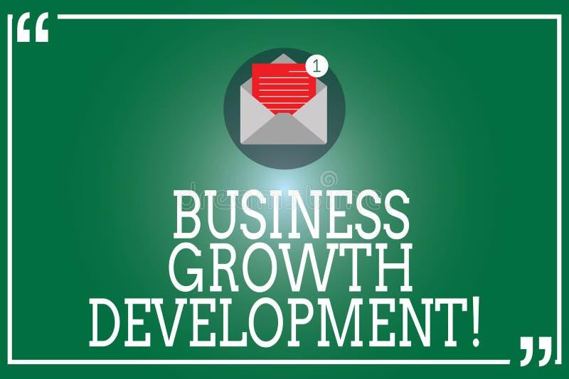Handwriting teksta Biznesowy Wzrostowy rozwój Pojęcie znaczy ulepszający niektóre miarę przedsięwzięcie sukces Otwarty royalty ilustracja