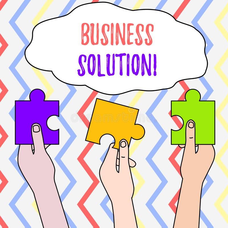 Handwriting teksta biznesu rozwi?zanie Pojęcia znaczenia usługi które zawierają planowanie strategiczne Trzy i cenienie ilustracja wektor