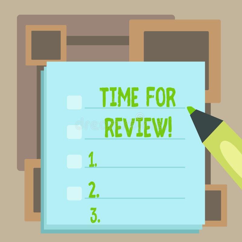 Handwriting teksta czas Dla przegl?du Poj?cie znaczy formaln? ocen? co? z zamiarem ustanawia zmiany puste miejsce ilustracja wektor