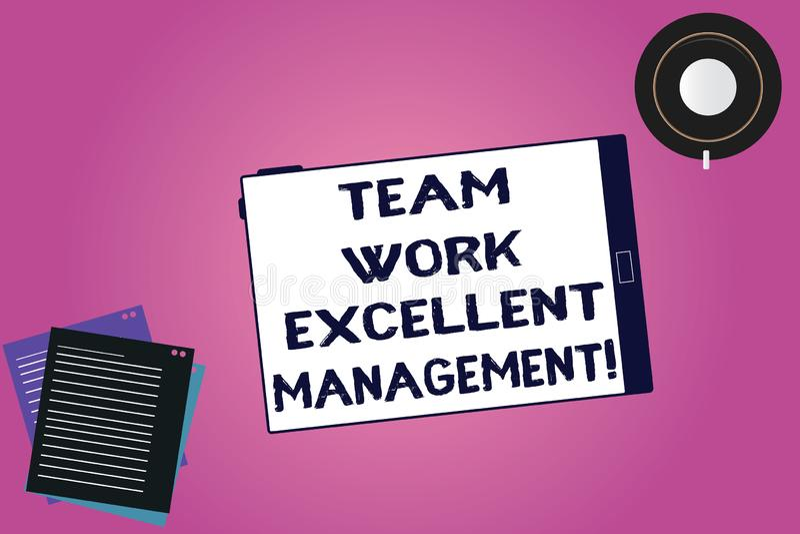 Handwriting teksta drużyny pracy Znakomity zarządzanie Pojęcie znaczy Skutecznej Najlepszy dobrej grupowej kierunek pastylki Pust ilustracji
