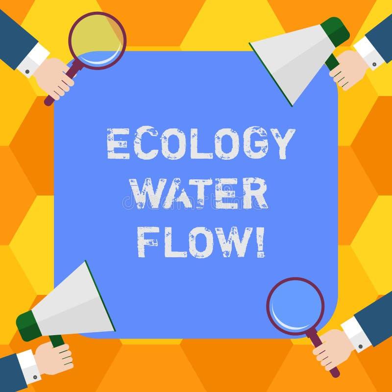 Handwriting teksta ekologii wody przepływ Pojęcia znaczenia system dla analysisaging ilości synchronizować i ilość wodny Hu ilustracji