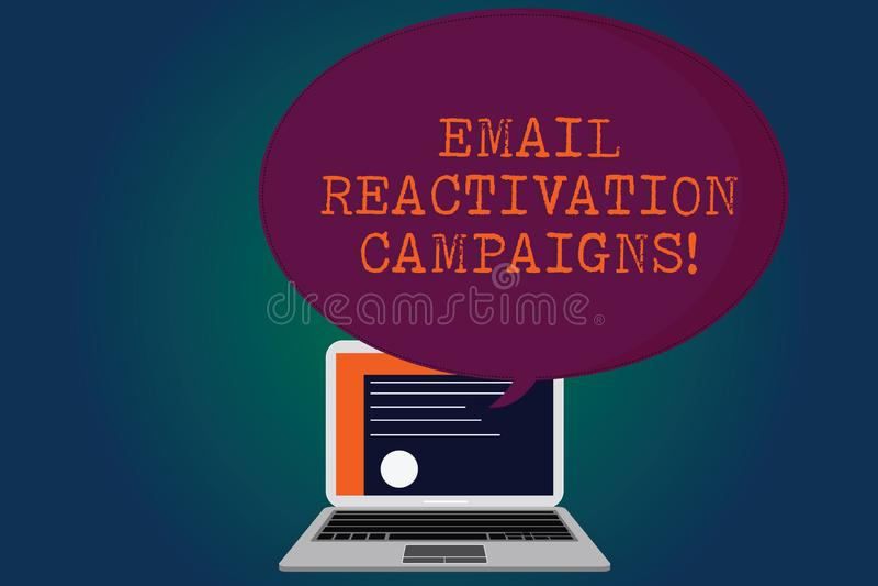 Handwriting teksta emaila reaktywacji kampanie Pojęcia znaczenie Wywoływał emaila dla sypialnego abonenta świadectwa ilustracja wektor