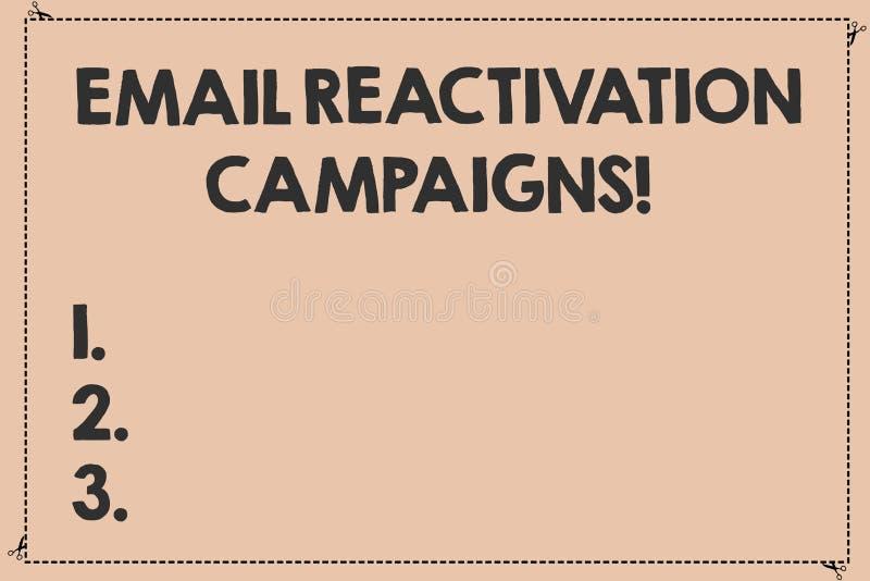 Handwriting teksta emaila reaktywacji kampanie Pojęcia znaczenie Wywoływał emaila dla sypialnych abonentów Łamających Ciskającymi ilustracja wektor